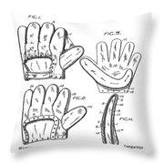 Baseball Glove Patent 1910 Throw Pillow