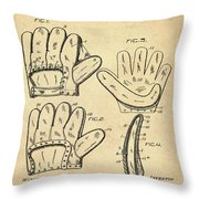 Baseball Glove Patent 1910 Sepia Throw Pillow