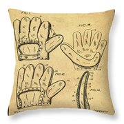 Baseball Glove Patent 1910 Sepia With Border Throw Pillow