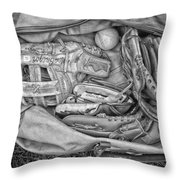 Baseball Gloves Bw Throw Pillow