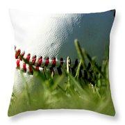 Baseball In Grass Throw Pillow