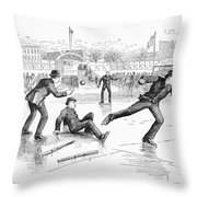 Baseball On Ice, 1884 Throw Pillow by Granger