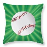 Baseball Over Green Throw Pillow