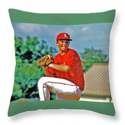 Baseball Pitcher Throw Pillow by Marilyn Holkham