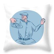 Baseball Pitcher Throwing Ball Circle Drawing Throw Pillow