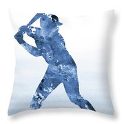 Baseball Player-blue Throw Pillow