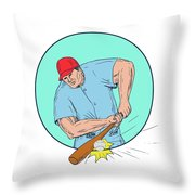 Baseball Player Hitting A Homerun Drawing Throw Pillow