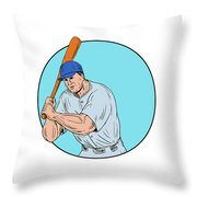 Baseball Player Holding Bat Drawing Throw Pillow