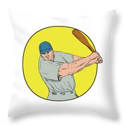 Baseball Player Swinging Bat Drawing Throw Pillow