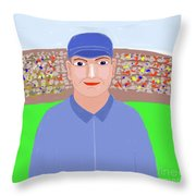Baseball Star Portrait Throw Pillow