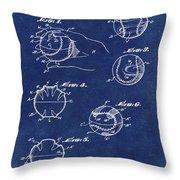 Baseball Training Device Patent 1961 Blue Throw Pillow
