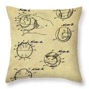 Baseball Training Device Patent 1961 Sepia Throw Pillow