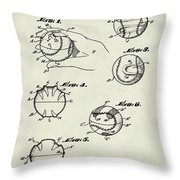 Baseball Training Device Patent 1961 Weathered Throw Pillow