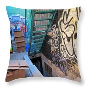 Basement Apartment In Graffiti Alley Throw Pillow