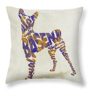 Basenji Dog Watercolor Painting / Typographic Art Throw Pillow
