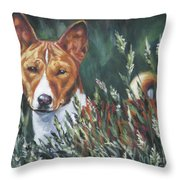 Basenji In Grass Throw Pillow