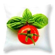 Basil And Cherry Tomato Throw Pillow