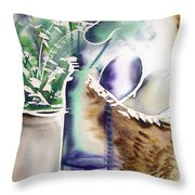 Basket And Bottle Throw Pillow