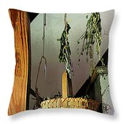 Basket And Drying Herbs Throw Pillow