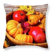 Basket Full Of Autumn Throw Pillow