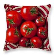 Basket Full Of Red Tomatoes  Throw Pillow by Garry Gay