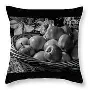 Basket Of Apples Bw Throw Pillow