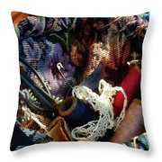 Basket Of Crocheting And Thread Throw Pillow