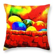 Basket Of Eggs - Da Throw Pillow