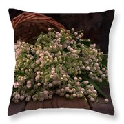 Basket Of Fresh Lily Of The Valley Flowers Throw Pillow