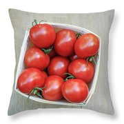 Basket Of Fresh Red Tomatoes Throw Pillow