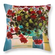 Basket Of Geraniums Throw Pillow