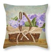 Basket Of Lilacs Throw Pillow