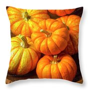 Basket Of Pumpkins Throw Pillow