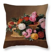 Basket Of Roses Throw Pillow