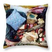 Basket Of Sewing Supplies Throw Pillow