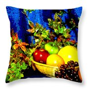 Basket With Fruit Throw Pillow