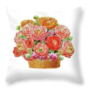 Basket With Ranunculus Flowers Watercolor Throw Pillow