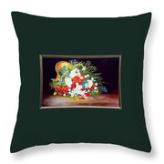 Basket With Summer Flowers Throw Pillow
