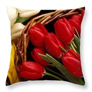 Basket With Tulips Throw Pillow