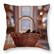 Basket With Wine Bottles Throw Pillow