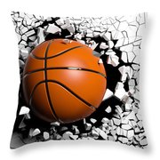 Basketball Ball Breaking Forcibly Through A White Wall. 3d Illustration. Throw Pillow