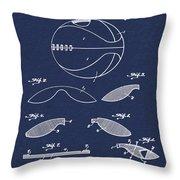 Basketball Patent 1916 Blue Throw Pillow
