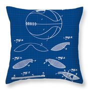 Basketball Patent 1916 Blue Print Throw Pillow