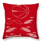 Basketball Patent 1916 Red Throw Pillow