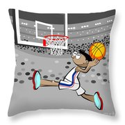 Basketball Player Jumping And Flying To Shoot The Ball In The Hoop Throw Pillow