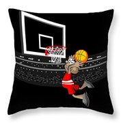 Basketball Player Jumping In The Stadium And Flying To Shoot The Ball In The Hoop Throw Pillow