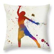 Basketball Player Paint Splatter Throw Pillow