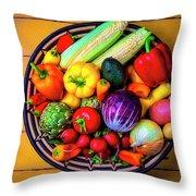 Basketful Of Fresh Vegetables Throw Pillow