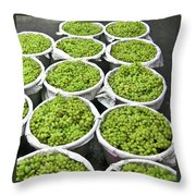 Baskets Of White Grapes Throw Pillow