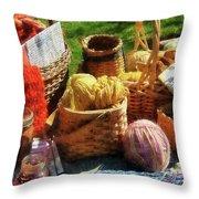 Baskets Of Yarn At Flea Market Throw Pillow